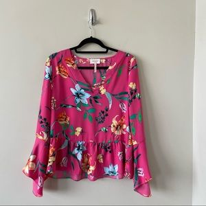 Laundry By Shelli Segal Pink floral Bell Sleeve